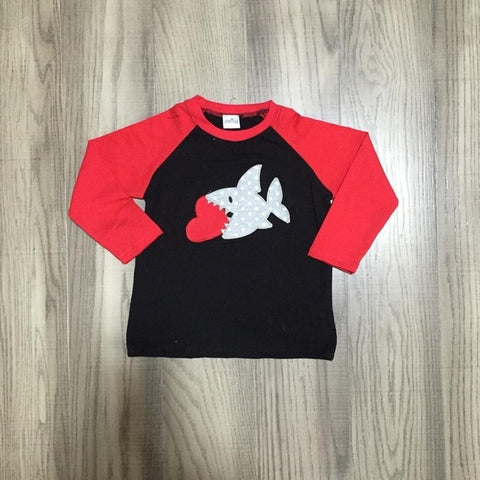 Shark Valentines Day Heart Red Raglan Black Shirt Boys