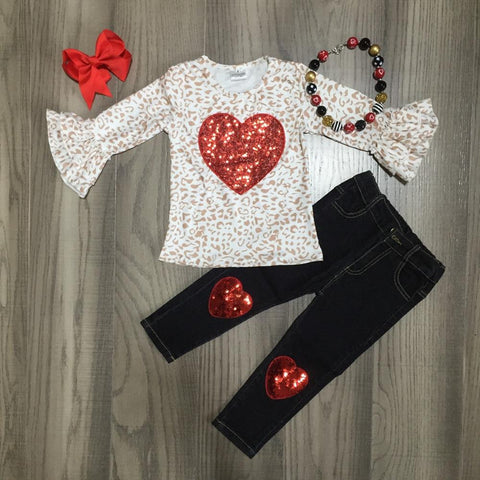 Leopard Sparkle Heart Outfit Jeans Top Necklace And Bow