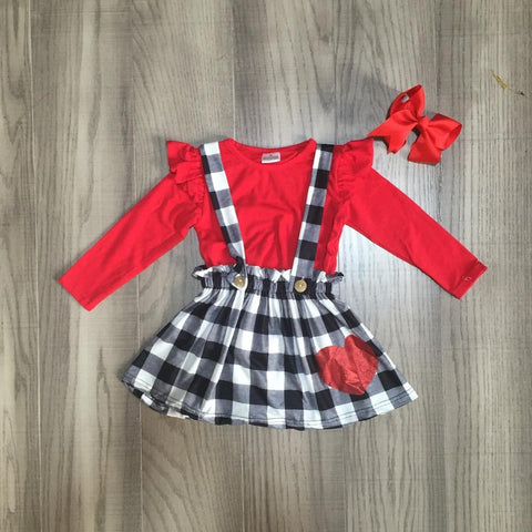 Black Plaid Heart Outfit Red Ruffle Top Jumper And Bow