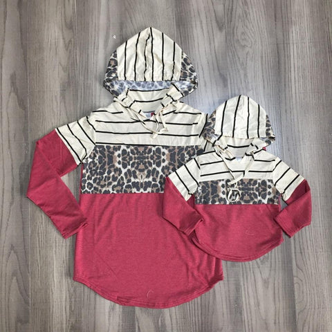 Burgundy Stripe Leopard Silver Heart Hoodie Mommy And Me