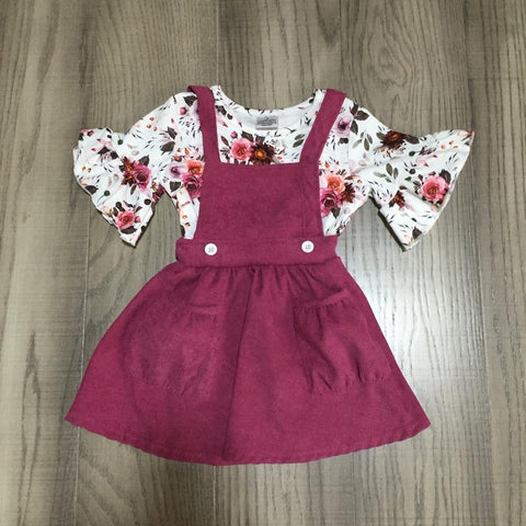 Valentines Floral Button Burgundy Jumper Dress And Ruffle Shirt