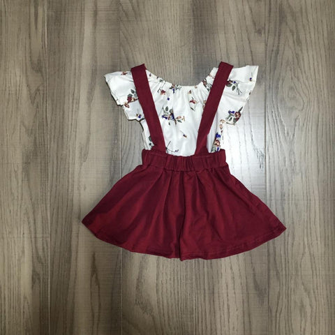 Love Is In The Air Burgundy Suspender Skirt And top