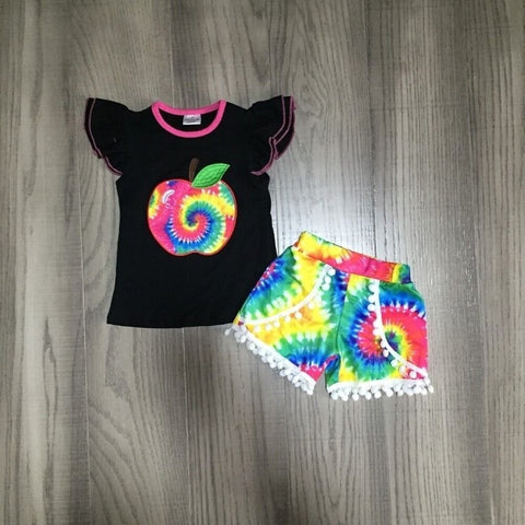 Rainbow Tie Dye Sparkle Like A Unicorn Top And Pom Shorts Necklace And Hair Bow Set