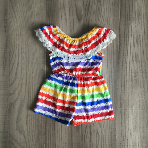 Rainbow Stripe Romper Necklace And Bow Set