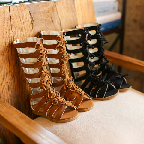 High Top Gladiator Sandals Brown Leather