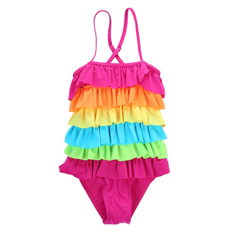 Rainbow Layered Ruffle Swimsuit One Piece