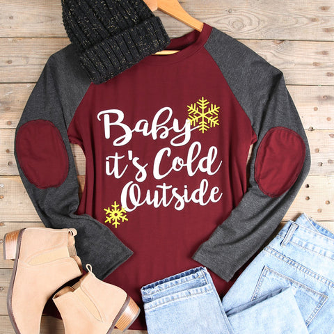 Burgundy Baby It's Cold Outside Patch Gray Raglan Shirt Adult