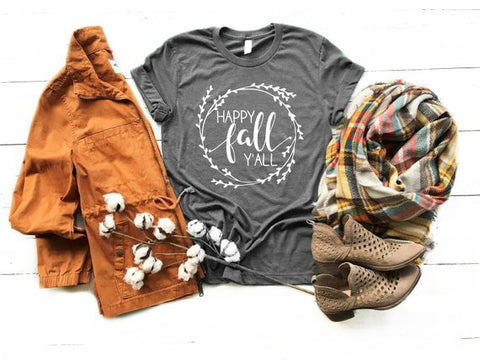 Gray Floral Happy Fall Y'all Shirt Adult