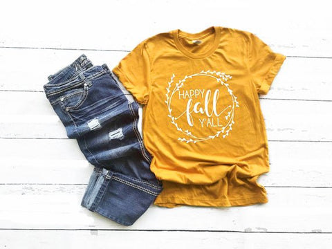 Mustard Floral Happy Fall Y'all Shirt Adult