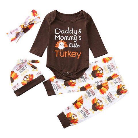 Daddy Mommys Little Turkey Outfit Brown Onesie Pants Hat And Headband