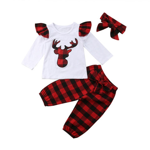 Red Plaid Buffalo Deer Ruffle Top And Pants Set