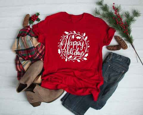 Red Happy Holidays Holly Shirt Adult