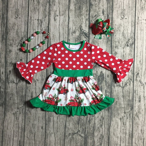 Vintage Red Truck Red Polka Ruffle Flutter Dress Necklace And Hair Bow Set