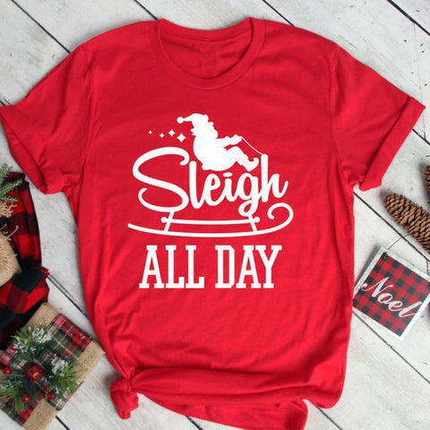 Sleigh All Day Santa Red Shirt Adult