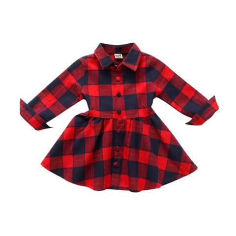Red Plaid Navy Buffalo Button Dress