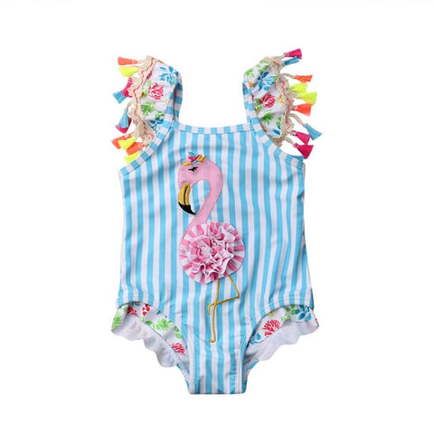 Blue Stripe Flamingo Swimsuit Pom Ruffle
