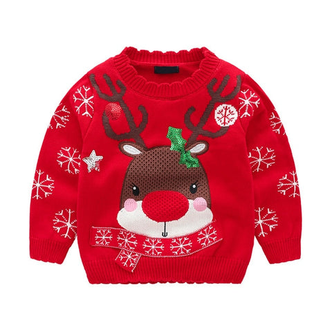 Holiday Time Red Snowflake Sequin Reindeer Party Sweater