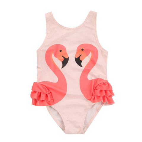 Blush Pink Flamingo Swimsuit Ruffle