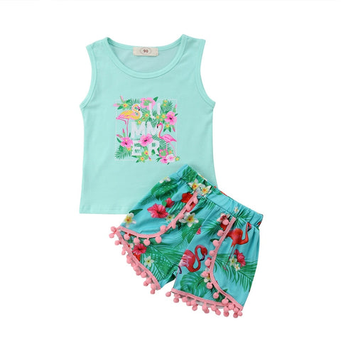 Summer Mint Pom Outfit Flamingo Floral Tank Top And Shorts
