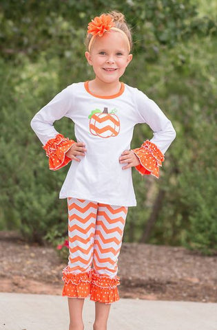 Chevron Orange Dot Ruffle Pant Set