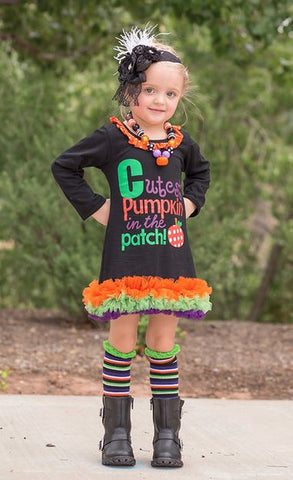Pumpkin Patch Black Polka Ruffle Dress