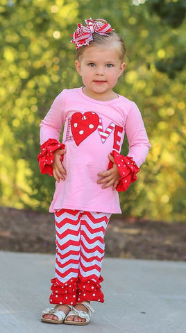 Red Love Ruffle Pant Set