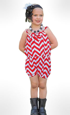 Red Chevron Sun Romper