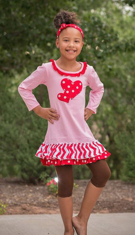 Pink - Red Polka Heart Dress
