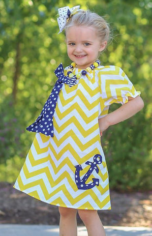 Yellow Chevron White Polka Anchor Dress