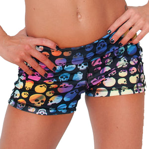Booty Shorts in Rainbow Skull