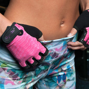 Pink Python Fitness Gloves