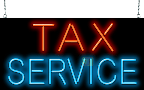 Neon Tax Service Sign
