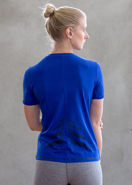 Women round neck top royal blue