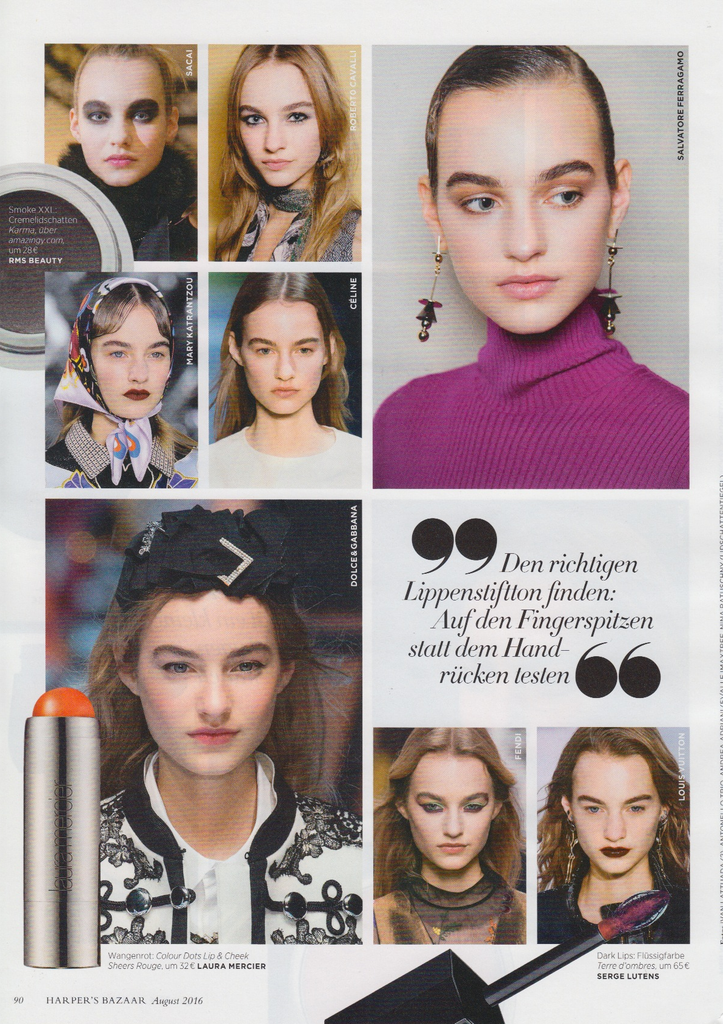 October 2016 Harpers Bazaar Germany featuring RMS Beauty Eye Polish in Karma