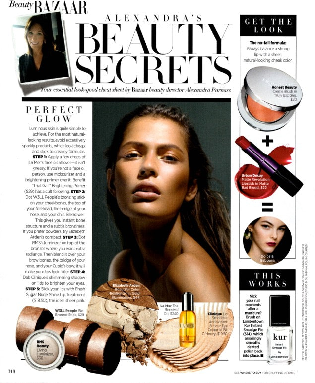 october 2015 harpers bazaar featuring rms beauty living luminizer