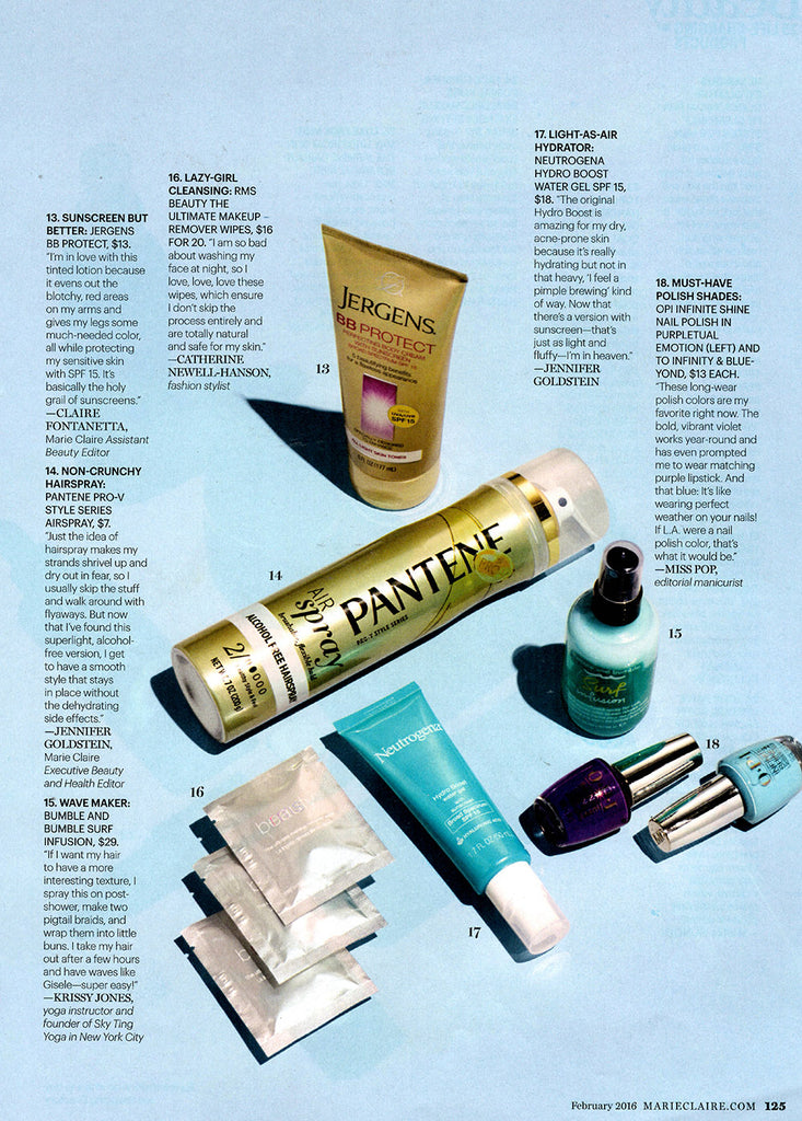 february 2016 marie claire magazine featuring rms beauty ultimate makeup remover wipes