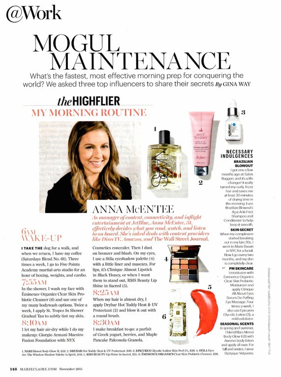 november 2015 marie claire magazine featuring rms beauty lip shine in sacred