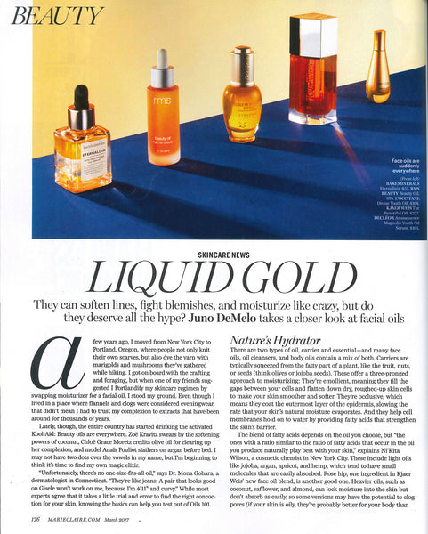 March 2017 Marie Claire featuring RMS Beauty Oil