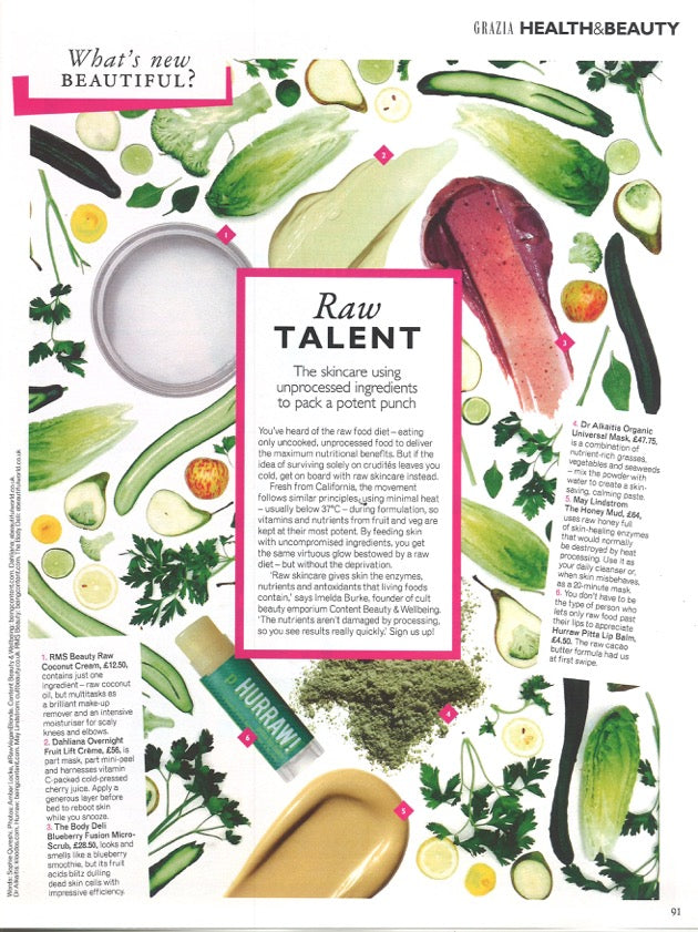 August 2015 Grazia Magazine featuring RMS Beauty Raw Coconut Cream