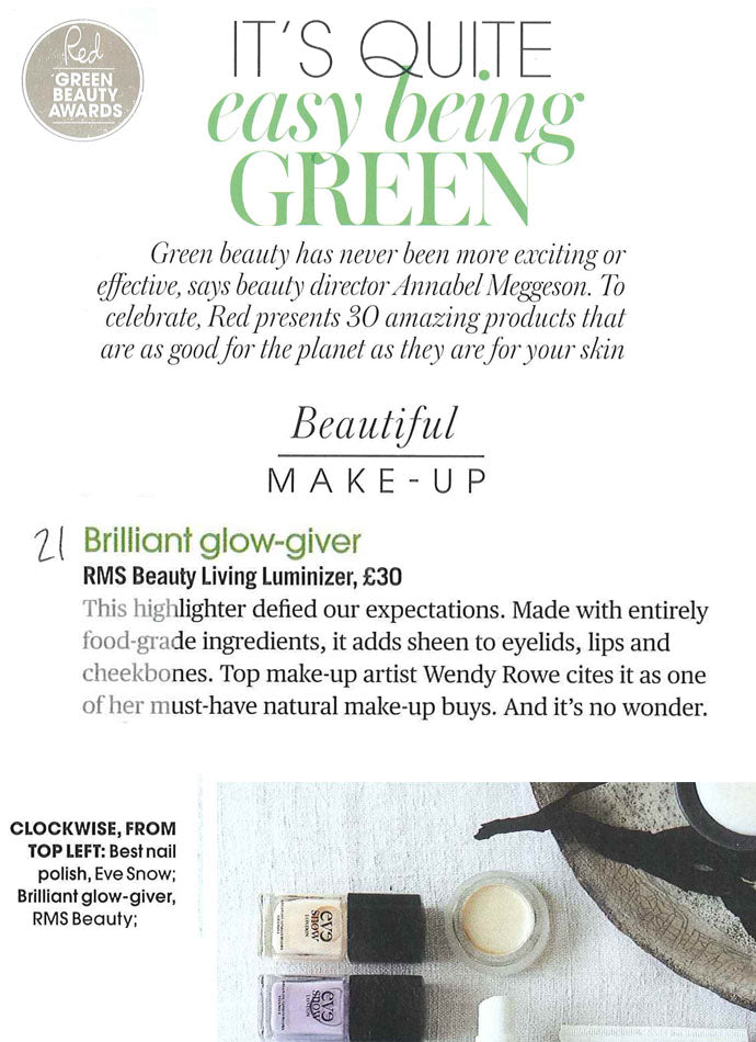 april 2014 red magazine featuring rms beauty living luminizer