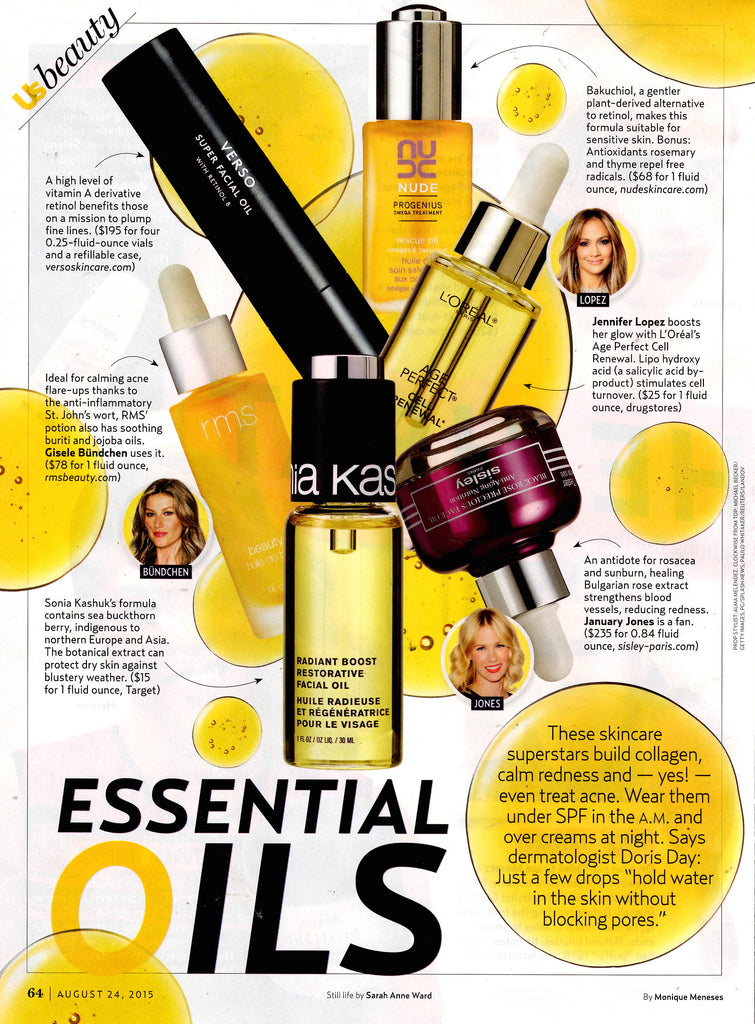 august 2015 us weekly featuring rms beauty oil
