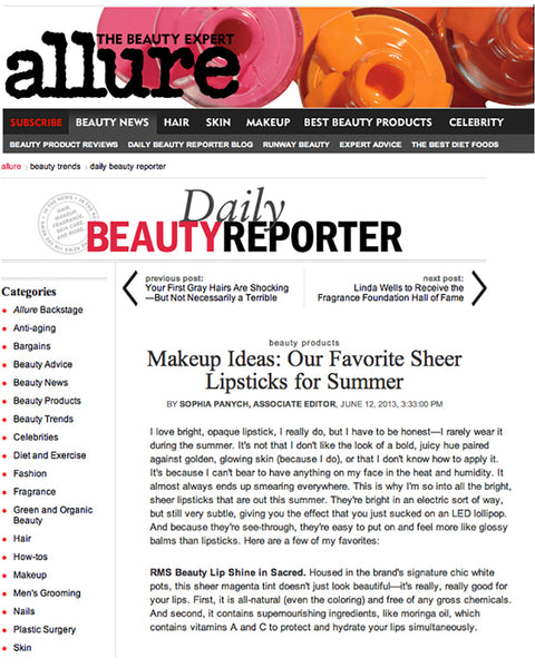 june 2013 allure.com featuring rms beauty lip shine in sacred