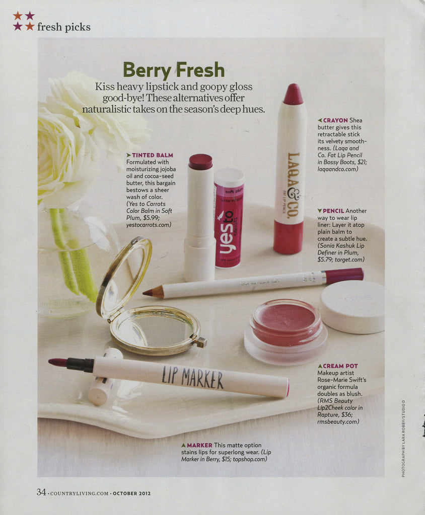 october 2012 country living featuring rms beauty lip2cheek in rapture