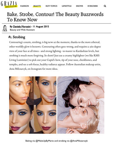 grazia daily featuring rms beauty living luminizer for strobing technique