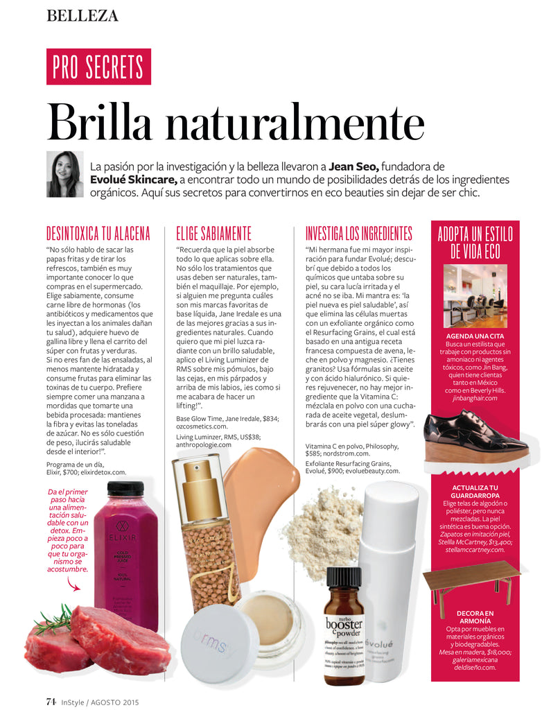 august 2015 instyle mexico featuring rms beauty living luminizer