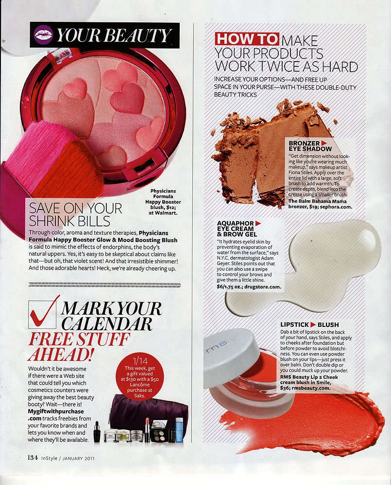 january 2011 instyle magazine featuring rms beauty lip2cheek in smile