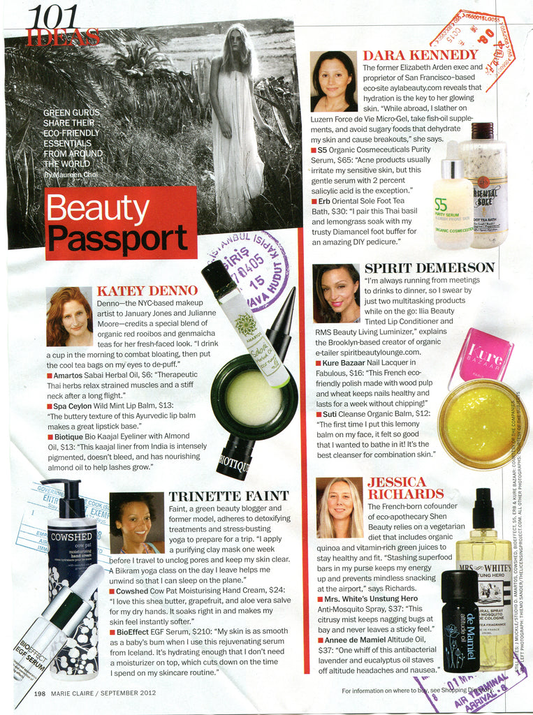 september 2012 marie claire magazine featuring spirit demerson and rms beauty living luminizer