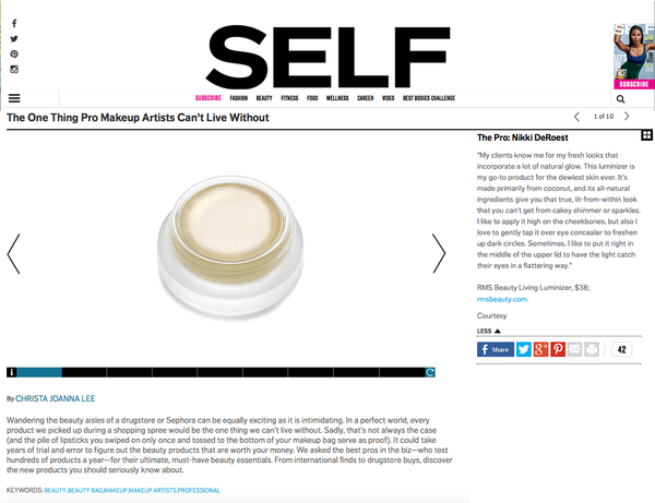 self magazine featuring rms beauty living luminizer