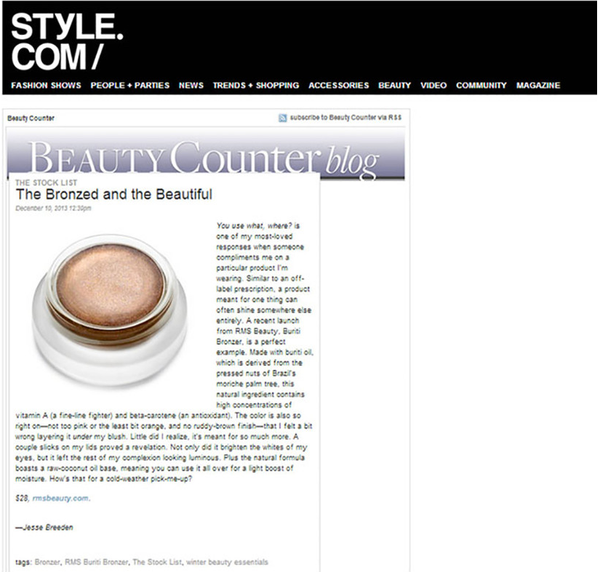 december 2013 style.com featuring rms beauty buriti bronzer
