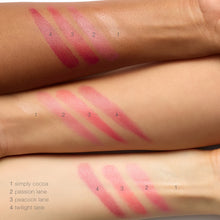 Load image into Gallery viewer, tinted lip balm swatches on three arms